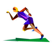 Sports man running. Abstract illustration of running man in cubism style stock illustration
