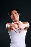 Sports man stretching his arms Stock Photos