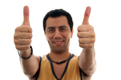 Sports man two thumps up Royalty Free Stock Images