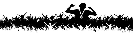Sports man victory silhouette. Crowd of fans, cheering. Banner, vector background.