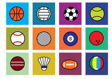 Sports. Many type sport ball by flat design style Royalty Free Stock Photography