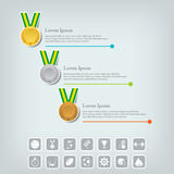Sports medal and award concept. Champions or winners icons. Sport Infographic with icons. Royalty Free Stock Image