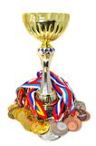 Sports medals and trophy Stock Photography