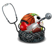 Sports Medicine. Concept and athletic medical care symbol as a doctor stethoscope tangled around a group of sport equipment icons for soccer football basketball Royalty Free Stock Image