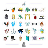 Sports, medicine, sea and other web icon in cartoon style.animals, recreation, textiles icons in set collection. Stock Photography