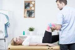 Sports medicine taping techniques Royalty Free Stock Images