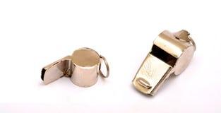 Sports Metal chrome whistle isolated on white stock image