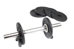 Sports metal dumbbell Royalty Free Stock Images