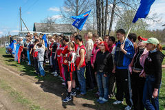 Sports mileage and the opening of the memorial to soldiers of World war 2 in the Kaluga region of Russia. In Russia there are many memorials and the mass Royalty Free Stock Photo