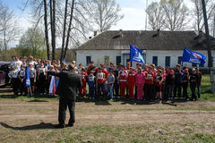 Sports mileage and the opening of the memorial to soldiers of World war 2 in the Kaluga region of Russia. Stock Photos