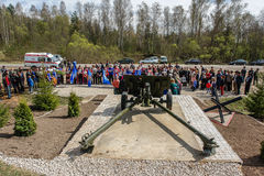 Sports mileage and the opening of the memorial to soldiers of World war 2 in the Kaluga region of Russia. Royalty Free Stock Image