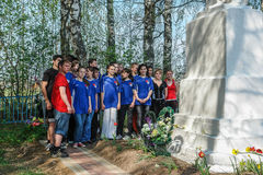 Sports mileage and the opening of the memorial to soldiers of World war 2 in the Kaluga region of Russia. In Russia there are many memorials and the mass Stock Image