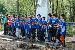 Sports mileage and the opening of the memorial to soldiers of World war 2 in the Kaluga region of Russia. In Russia there are many memorials and the mass Stock Photo