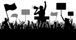 Sports and mob, fans. Demonstration and manifestation and protest, strike and revolution, speaker. Crowd of people with flags, banners. Sports and mob, fans stock illustration