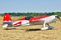 Sports model aircraft takes off from airfield Stock Images