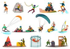 Sports modernes et divertissements réglés illustration de vecteur