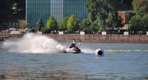 Sports motor boat at great speed. Royalty Free Stock Photography
