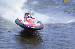 Sports motorboat on the river. World Championship Endurance Pneumatics Class 1/2/3/4/5 24 hours St.-Petersburg July, 5-6th 2008 Royalty Free Stock Photography