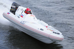 Sports motorboat white. World Championship Endurance Pneumatics Class 1/2/3/4/5 24 hours St.-Petersburg July, 5-6th 2008 Stock Images