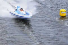 Sports motorboat white-blue Royalty Free Stock Photo