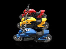 Sports motorcycles - red yellow and blue Stock Photos