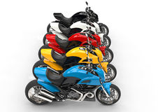 Sports motorcycles in a row - top view Royalty Free Stock Image