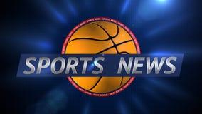 Sports News Basketball Title Background Plate. Sports News Basketball 3D Graphical Digital Background Stock Photo