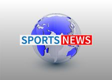 Sports news, world news backgorund with planet, TV news design. Vector stock illustration