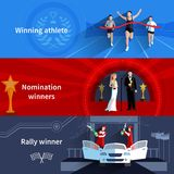 Sports And Nomination Winners Banners Set Stock Image