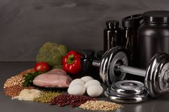 Sports nutrition and fitness equipment. Stock Photography