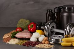 Sports nutrition and fitness equipment. Stock Images