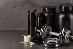 Sports nutrition and fitness equipment. Stock Photo