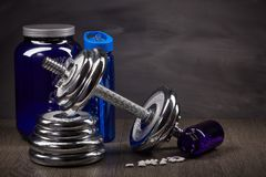 Sports nutrition and fitness equipment. Stock Image