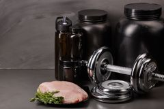 Sports nutrition and fitness equipment. Royalty Free Stock Photos