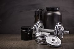 Sports nutrition and fitness equipment. Royalty Free Stock Photo