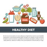 Sports nutrition and fitness gym dietary supplements poster. Vector protein shake drink in mixer, energy calorie carbohydrates bar and fat weight loss or Royalty Free Stock Photography