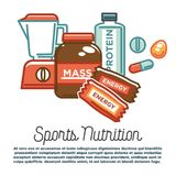 Sports nutrition and fitness food healthy protein dietary gym supplements vector poster. Sports nutrition and fitness gym dietary supplements poster. Vector Stock Photo