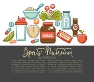 Sports nutrition and fitness gym dietary supplements poster. Vector protein shake drink in mixer, energy calorie carbohydrates bar and fat weight loss or Stock Images
