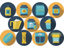 Sports nutrition flat icons collection Royalty Free Stock Image