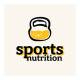 Sports nutrition logo concept in modern style. Sports nutrition logo concept. Protein inside the kettlebell concept royalty free illustration