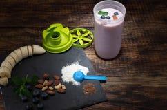 Sports nutrition. Snack athlete. Protein drink with berries. Sports nutrition. Snack athlete. Protein drink with berries stock photography