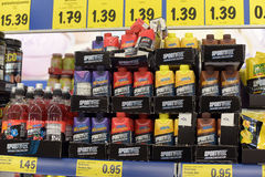 Sports nutrition at the store Stock Photo
