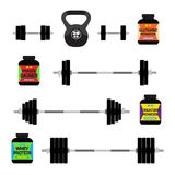 Sports nutrition, supplements, barbells, whey protein, gainer bars. Flat style. Royalty Free Stock Photo