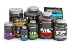 Sports  nutrition supplements for bodybuilding. Whey protein c stock illustration