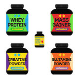 Sports nutrition, supplements, creatine, whey protein, gainer ba Royalty Free Stock Photography