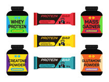 Sports nutrition, supplements, creatine, whey protein, gainer bars. Flat style. Stock Images