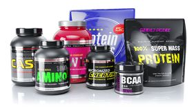 Sports nutrition. Whey, BCAA, protein, amino. 3d render Royalty Free Illustration