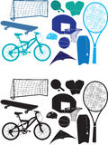 Sports object silhouettes. Set of vector silhouettes of sporting objects Stock Photo