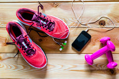 Sports Objects. Photography On Wood Royalty Free Stock Image