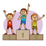 Sports olympiques champions médaillés Athlètes Photos libres de droits